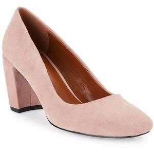 H Halston blush pink Whitney suede block pump 6